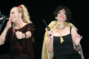 Clare Jones as Martini Bond (left) and Julia Collier as Franken von Banken in Martini Bond rehearsals